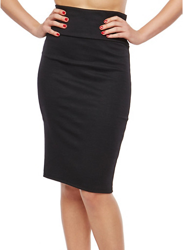 Pleated Stretch Pencil Skirt,BLACK,large