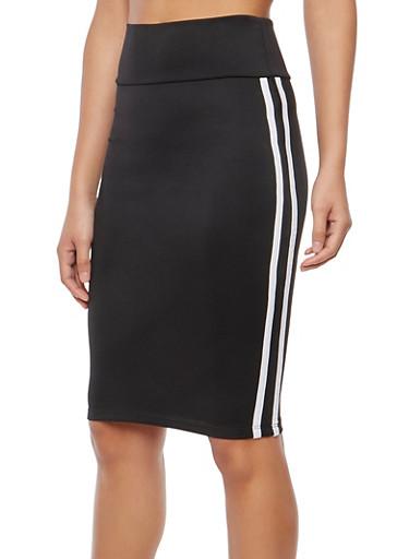 Athletic Stripe Stretch Pencil Skirt,BLACK/WHITE,large