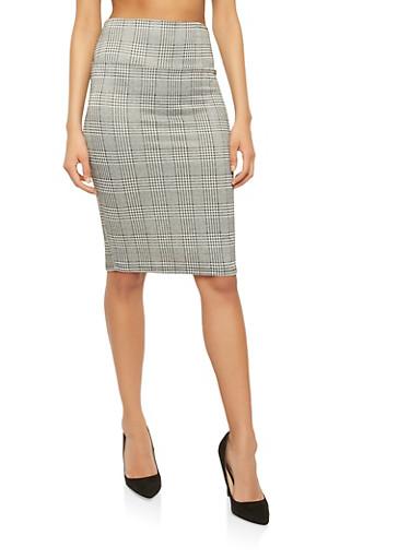 Plaid Pencil Skirt,BLACK,large