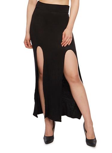 Double Front Slit Maxi Skirt,BLACK,large