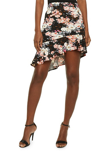 Floral Pencil Skirt with Ruffled Asymmetrical Hem,IVORY/ROSE,large