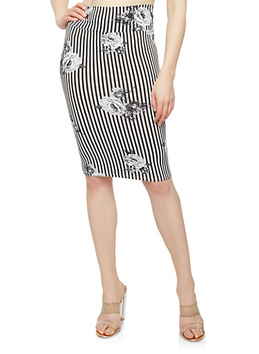 Printed Soft Knit Pencil Skirt,GRAY/BLK,large