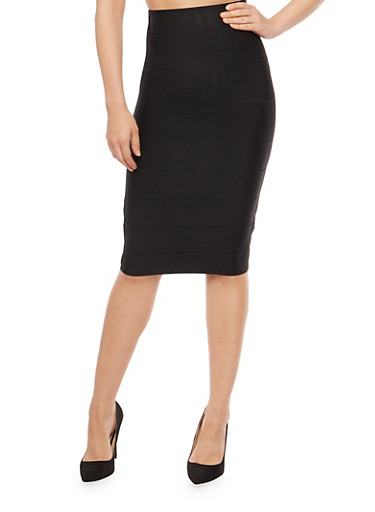 High Waisted Bandage Pencil Skirt,BLACK,large