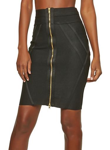 Black Zip Up Bandage Skirt,BLACK,large
