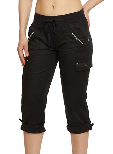 Cargo Capri Pants with Drawstring Waist,BLACK,large