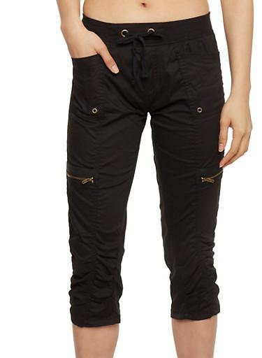 Cargo Capri Pants with Drawstring Waist,BLACK,large