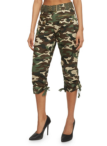 Belted Camouflage Capris with Ruched Tie Legs,OLIVE,large