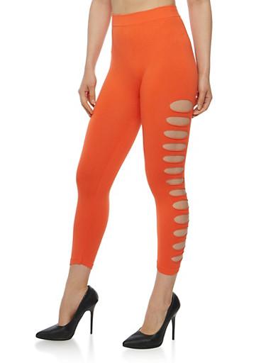 Solid Lasercut Capri Leggings,BRIGHT CORAL,large
