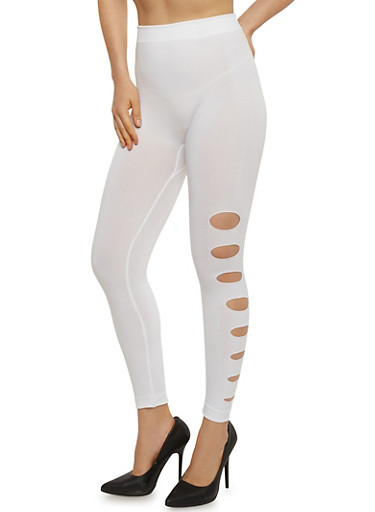 Laser Cut Leggings,WHITE,large