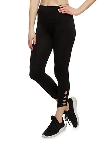 Lattice Leg Leggings,BLACK,large