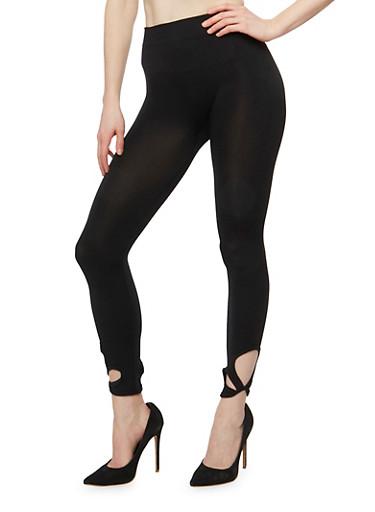 Twist Cut Out Capri Legging,BLACK,large