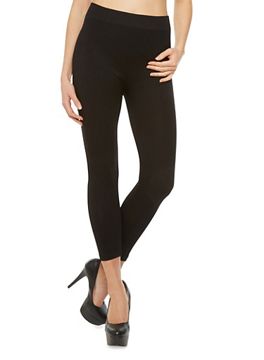Solid Capri Leggings,BLACK,large