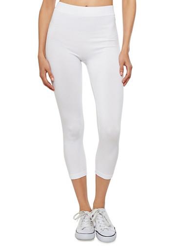 White Capri Leggings,WHITE,large