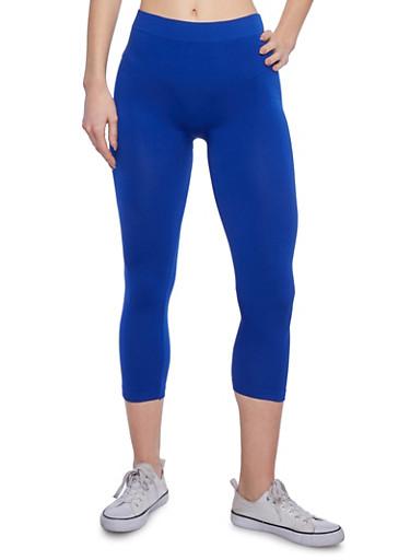 Solid Seamless Capri Leggings,RYL BLUE,large