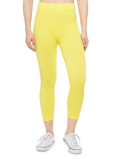 Solid Leggings with Ribbed Trim,YELLOW,large