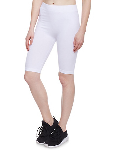 Spandex Bike Shorts,WHITE,large