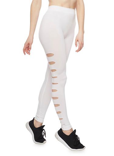 Side Slashed Leggings,WHITE,large