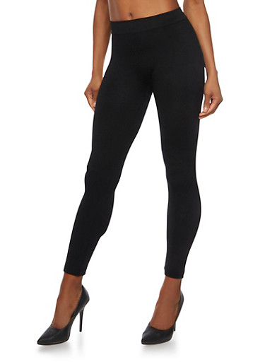 Basic Solid Leggings,BLACK,large