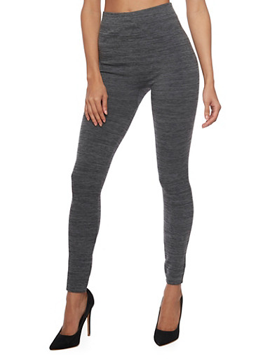 High Waisted Leggings in Marled Knit,GREY,large