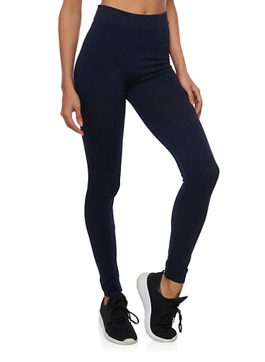 Solid High Waisted Leggings,NAVY,large