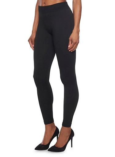 Fleece Leggings,BLACK,large