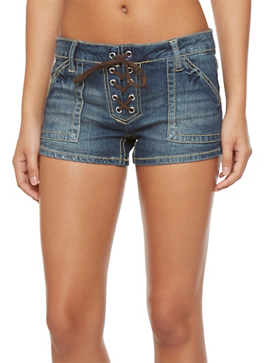 Almost Famous Lace Up Jean Shorts,MEDIUM WASH,large