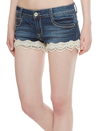 Almost Famous Denim Shorts with Crochet Accents