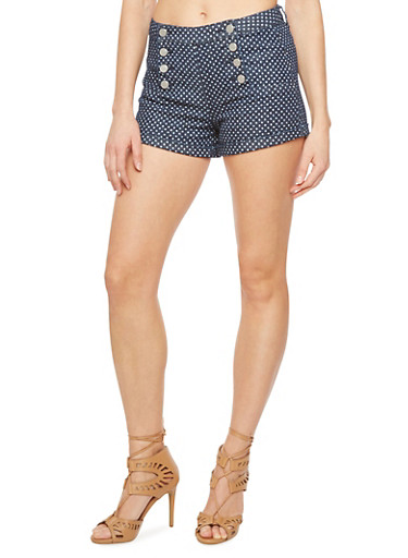 Almost Famous Denim Sailor Shorts with Polka-Dot Print,INDIGO,large