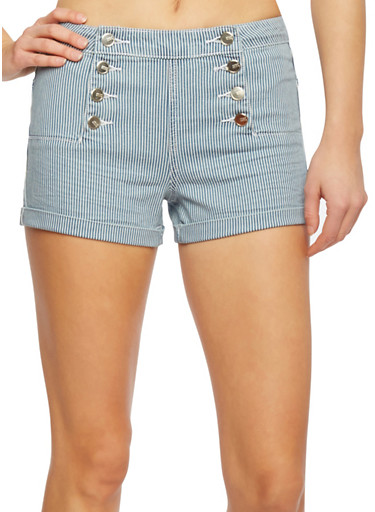 Almost Famous Striped Sailor Shorts with Fixed Cuffs,LIGHT WASH,large
