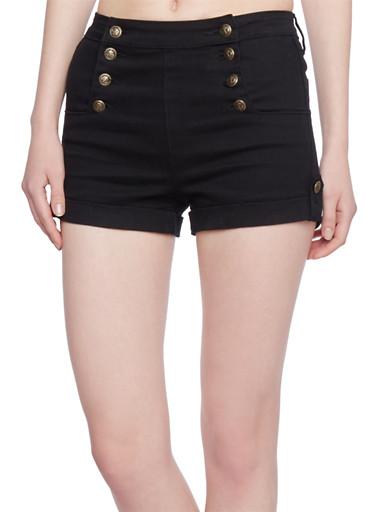 Sailor Shorts with Roll Tab Hem,BLACK,large