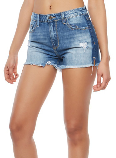 Cello Frayed Hem Shorts,DARK WASH,large