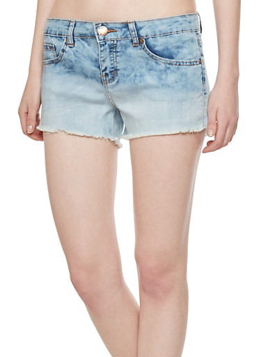 VIP Jeans Denim Shorts with Frayed Cuffs,LIGHT WASH,large