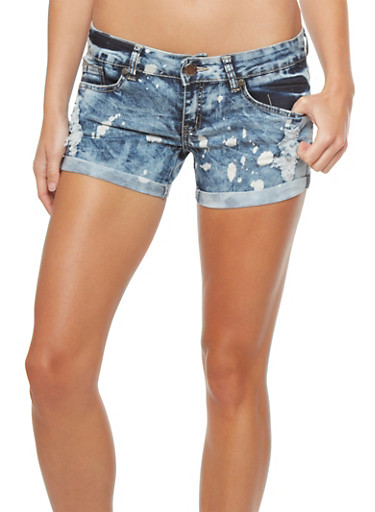 VIP Jeans Cloud Wash Shorts With Rolled Cuffs,BLUE DENIM,large