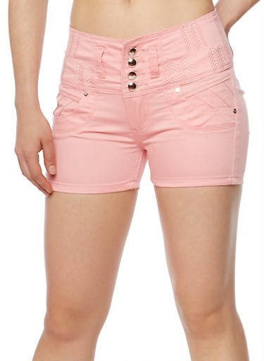 Solid 3 Button Twill Shorts,BLUSH,large
