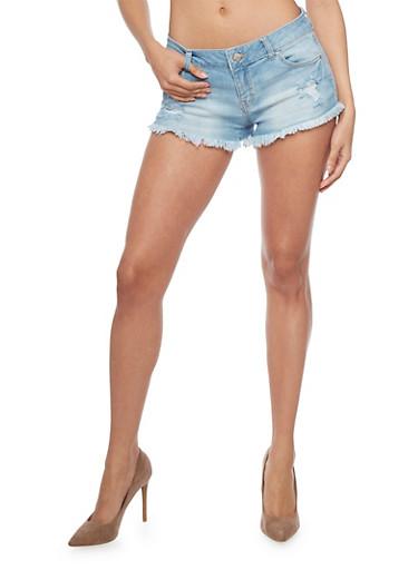 WAX Destroyed Denim Shorts with Frayed Hem,LIGHT WASH,large