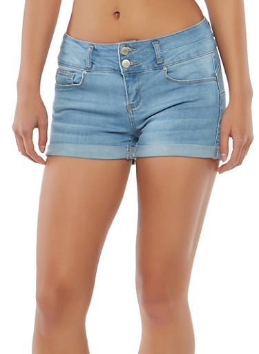 WAX 2 Button Push Up Denim Shorts,LIGHT WASH,large