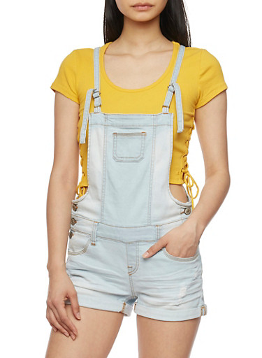 WAX Denim Cuffed Denim Shortalls,LIGHT WASH,large