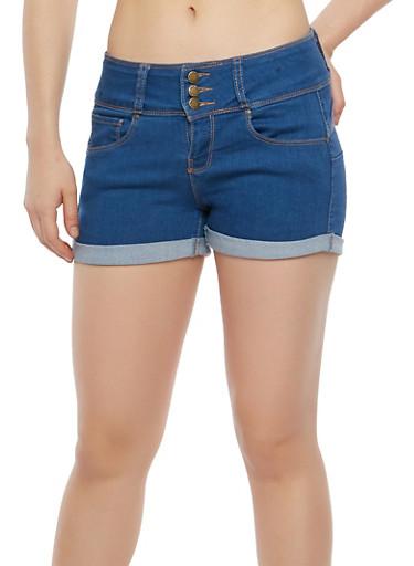 WAX 3 Button High Waisted Denim Shorts,MEDIUM WASH,large