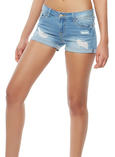 WAX Distressed Push Up Denim Shorts,LIGHT WASH,large