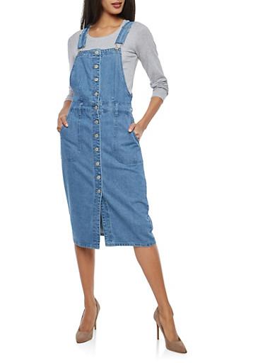 Button Front Denim Overall Dress,MEDIUM WASH,large