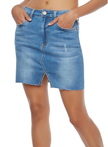 Denim Mini Skirt,MEDIUM WASH,large