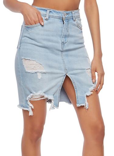Highway Destroyed Denim Skirt,LIGHT WASH,large