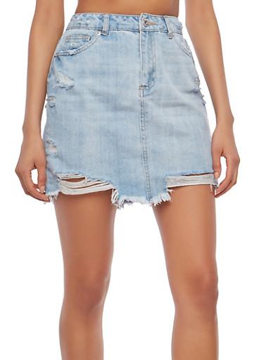 Highway Distressed Jean Mini Skirt,LIGHT WASH,large