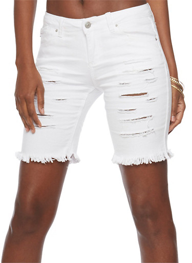 Almost Famous Slashed Denim Bermuda Shorts,WHITE,large