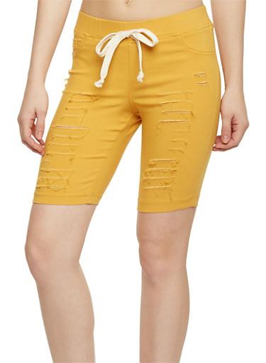 Slashed Bermuda Shorts with Drawstring Waist,MUSTARD,large