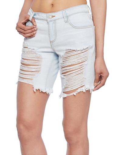 Cello Distressed Denim Shorts,LIGHT WASH,large
