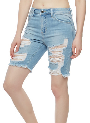 Cello Destruction Bermuda Denim Shorts,MEDIUM WASH,large
