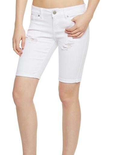 Destroyed Roll Cuff Denim Bermuda Shorts,WHITE,large