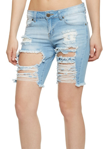 VIP Destroyed Denim Bermuda Shorts with Frayed Hem,LIGHT WASH,large