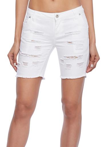 Highway Jeans Distressed Cutoff Bermuda Shorts,WHITE,large